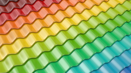 Colorful pattern of roof tile 3D. Architecture detail