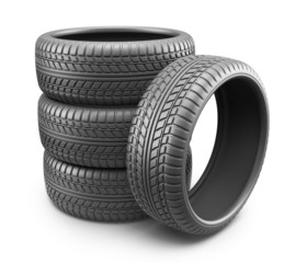 Rubber tire. Wheel 3D, Icon isolated on white background