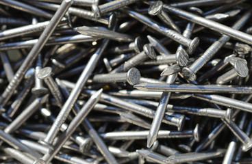 Macro shot of iron nails