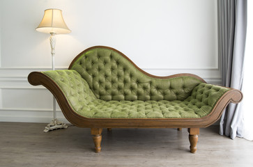 Green sofa with luxurious look