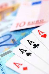 Game cards for euro banknotes.