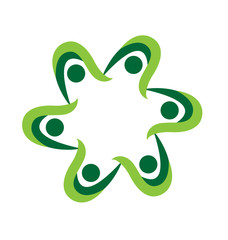 Green teamwork people logo concept icon vector