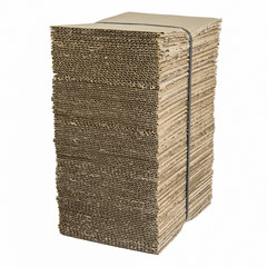 Bundle of corrugated cardboard with stacked