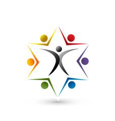 Teamwork leader union people logo vector