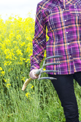 Farmer on flowering canola field