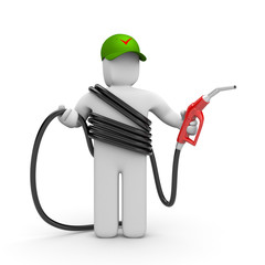 Petrol station worker with petrol pump