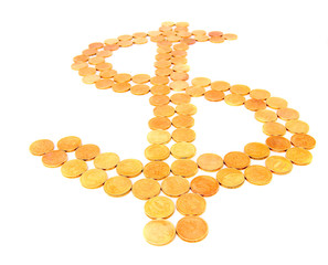Dollar sign from gold coins.