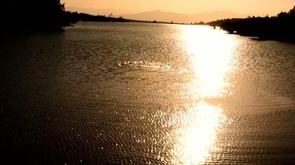 gündoğumu gölette yüzmek