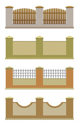 Set of brick fence