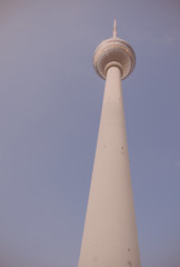 Vintage photography of TV tower Alexanderplatz