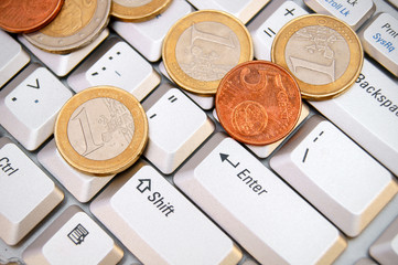 Coins on the keyboard.