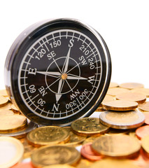 Coins and a compass.