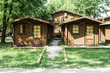 Wooden bungalows on campsite camping - 66489061