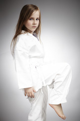 Young karate tiger girl
