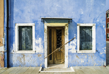Bright blue color house in Venice