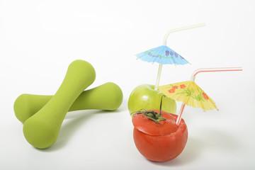 dumbbells fruit vegetables