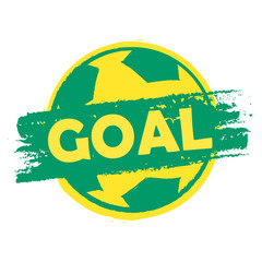 goal over soccer ball in Brazilian colors, drawn banner