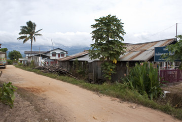 Street in Muang Sing village in North Laos, Asia