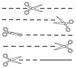 white scissors set with dotted line