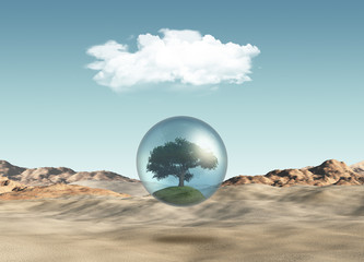 Tree in globe against a desert scene