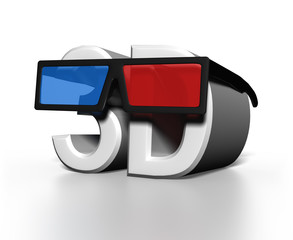 3D glasses on large text of the word 3D