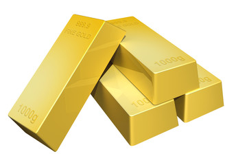 3D render of shiny pure gold bars