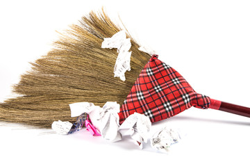new broom sweeping  isolated on white background