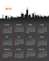 2015 year stylish calendar on cityscape background