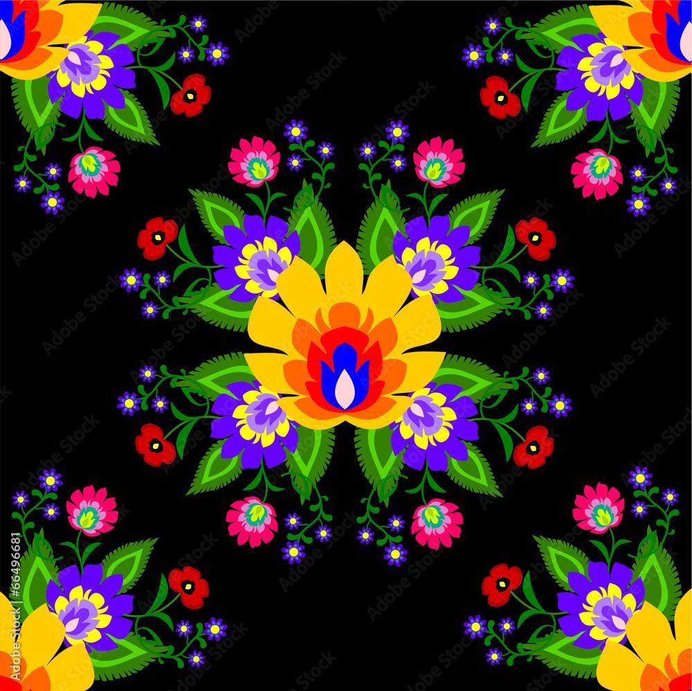 kwiatowy ludowy wzór - powiększenie