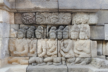 Detail of carved relief at Borobudur. Java, Indonesia