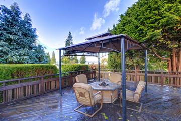 Backyard gazebo with patio set