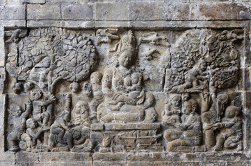Detail of carved relief at Prambanan. Java, Indonesia
