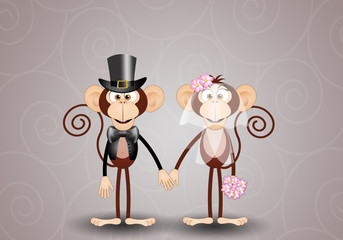 A couple of monkeys just married