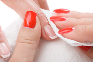 manicure applying - wiping and cleaning