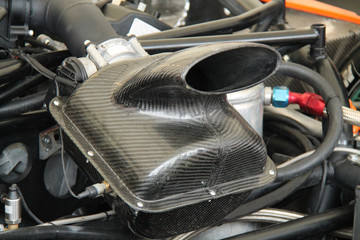 The Air Intake of a Powerful Car Engine.
