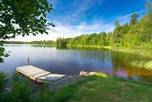 "Постер, картина, фотообои ""Summer Swedish lake in morning light"""