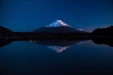 Inverted image of Mount Fuji at early morning