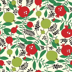 Seamless pattern of pomegranate and apple tree