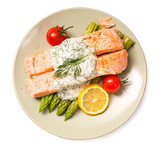 Salmon with steamed asparagus isolated