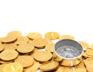 Gold coins and compass.