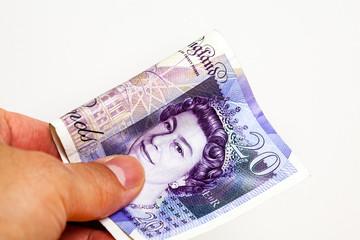 Handing over cash note