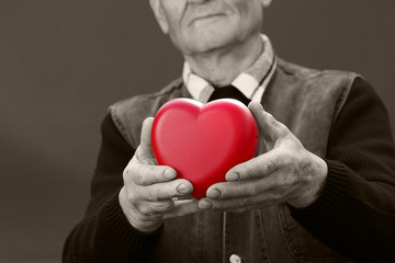 Cropped image, hands of elderly man holding red heart