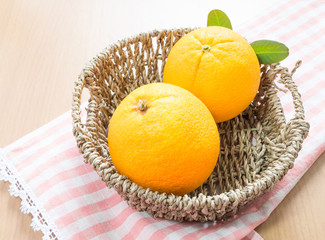 fresh orange in the basket