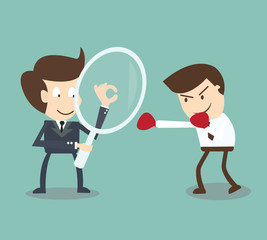 Businessman competitor analysis