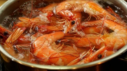 Boiling Unshelled Tiger Shrimps. Close up. Delicious Video Pack.