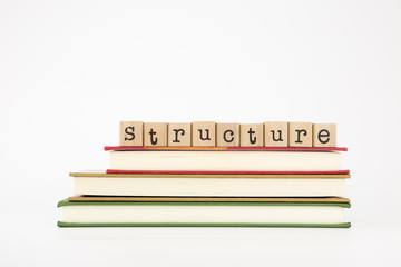 structure word on wood stamps and books