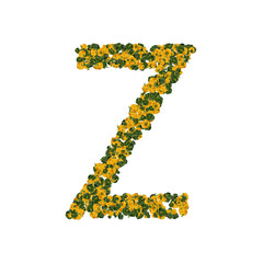 Letter Z made from green and yellow bell peppers