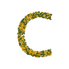Letter C made from green and yellow bell peppers