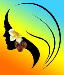 profil de jeune fille aux cerises et à la fleur de tiaré