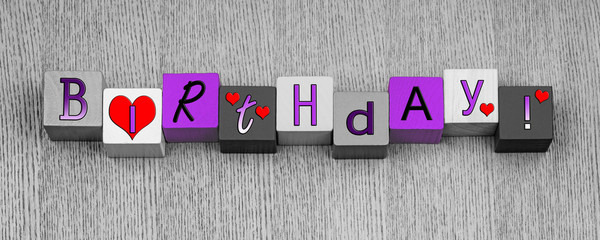 Happy Birthday sign or design for card & greetings.